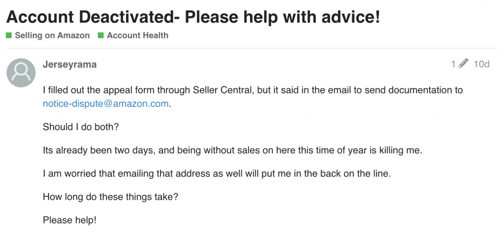 amazon seller central account deactivated 2019