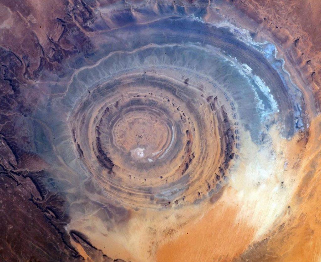 eye of sahara desert captured from satellites by nick hague nasa internation space station 2019